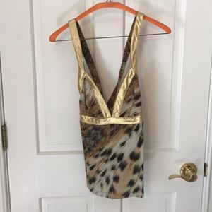 Just Cavalli animal print gold tank top, size S